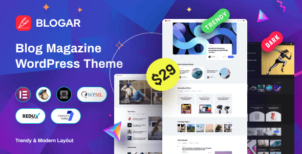 Download Nulled Blogar v1.0.2 - Blog Magazine WordPress Theme