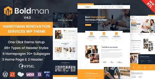 Download Nulled Boldman v4.1 - Handyman Renovation Services WordPress Theme