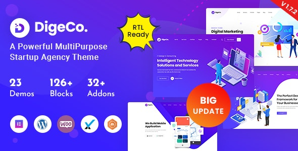 Download Nulled Digeco v1.7.2 � Startup Agency WordPress Theme