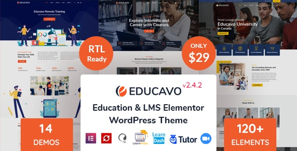 Download Nulled Educavo v2.4.2 - Online Courses & Education WordPress Theme
